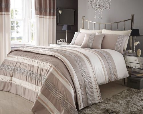 BEIGE & CREAM COLOUR STYLISH LACE DIAMANTE DUVET COVER LUXURY BEAUTIFUL BEDDING